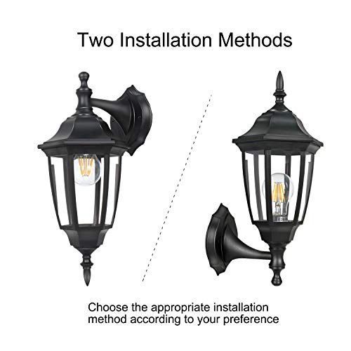 FUDESY 2-Pack Outdoor Wall Lanterns,Corded-Electric 12W Plastic LED Exterior Wall Lights,Waterproof Retro Black Porch Light Fixture Wall Mount for Garage,Yard,Front Door,Deck,FDS341B2 by FUDESY (Image #3)