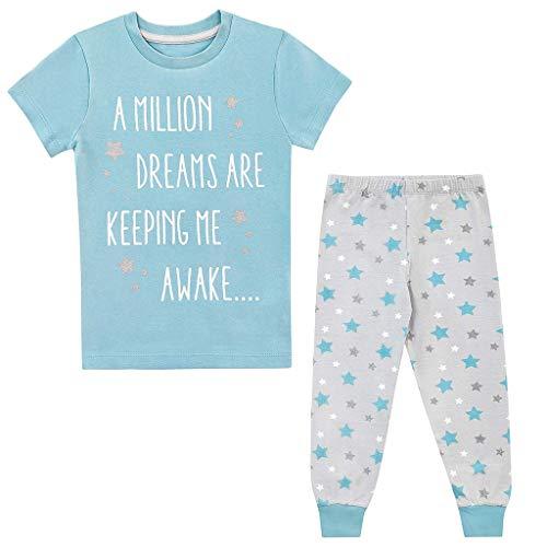 Children Clothes Set Kids Girls Letter Stars Print Tops T-Shirt+Pants Pajamas Set Outfit Blue