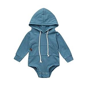 Newborn Infant Baby Boy Girl Hooded Romper Sweatshirts Drawstring Pockets Solid Long Sleeve Jumpsuit Tops