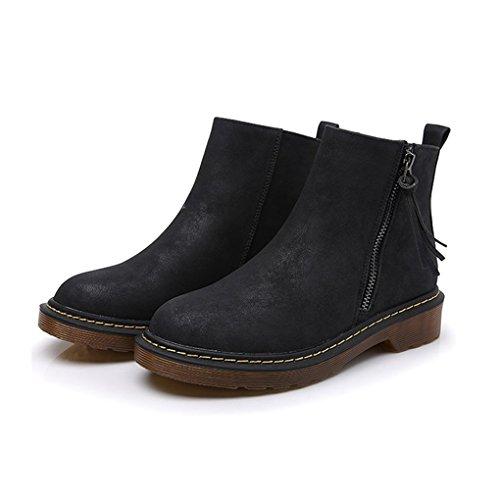 Cybling Mode Femmes Gland Fermeture À Glissière Up Bottines Pour La Randonnée Marche En Plein Air Orteils Chaussures Noires
