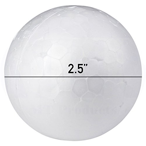 Smooth White Craft Foam Polystyrene Round Balls by MT Products (2.25 Inch) (18 Pieces) (Smooth Cylinder)