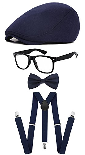 Classic Gatsby Newsboy Ivy Hat,Suspenders Y-Back Trouser Braces,Pre Tied Bow Tie,Non Prescription Glasses (Cotton - Navy) by ZeroShop