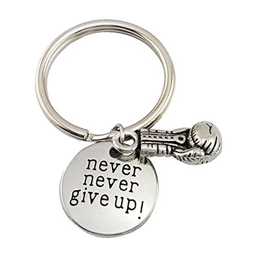 SELOVO Never Give Up Boxing Keychain Boxing Gloves Support Charm Keyring for Friend