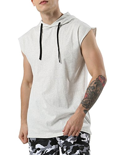uxcell Men Workout Pullover Sweatshirt Hooded Shirt Tank Top Sleeveless Hoodie (US 44) Large Light Gray