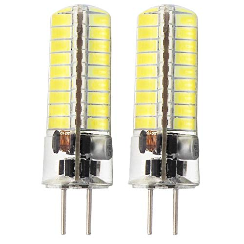 5730 SMD LED Bulb G6.35 Bi-pin Base AC12V DC12V-24V Silicone Crystal Corn Bulb Super Bright 450Lumens Cool White Pack of 2 ()