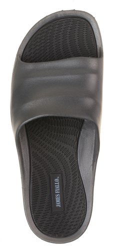 J. Fiallo Mens New Slide Beach Sandal Slippers in 3 Classy Colors (8, Grey/Black)