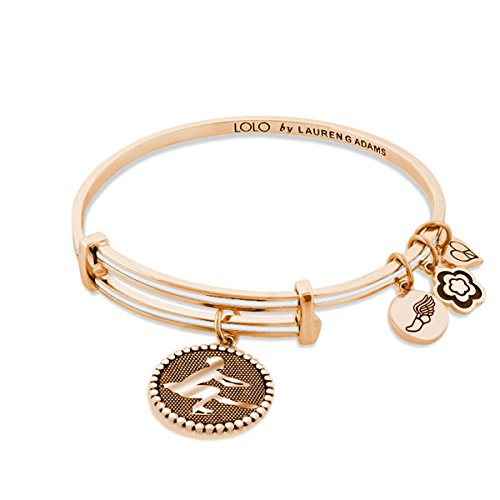 Lauren G Adams Lolo Expandable Bangle Figure Skating Charm (White, rose-gold-plated-brass)