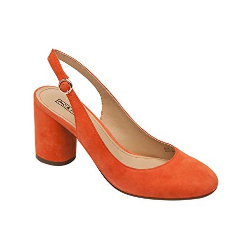 Pic & Pay | Nahla | Pretty Suede Round Toe Slingback Mid-Height Pump Coral Suede ()
