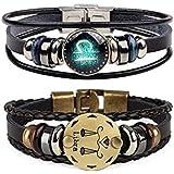 CHUYUN Retro 2pcs 12 Zodiac Constellation Beaded Hand Woven Leather Bracelet Braided Punk Chain Cuff (Libra)