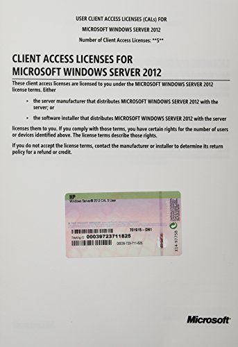 HP Microsoft Windows Srvr 2012 5 Usr Cal