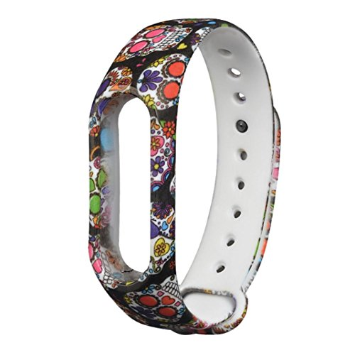 Watchband Aobiny Skull Silicon Strap WristBand Bracelet Replacement for XIAOMI MI Band 2