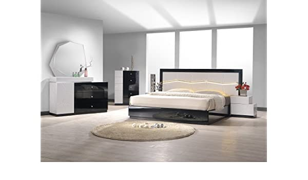 amazoncom jm furniture turin black white lacquer queen size bedroom set kitchen dining
