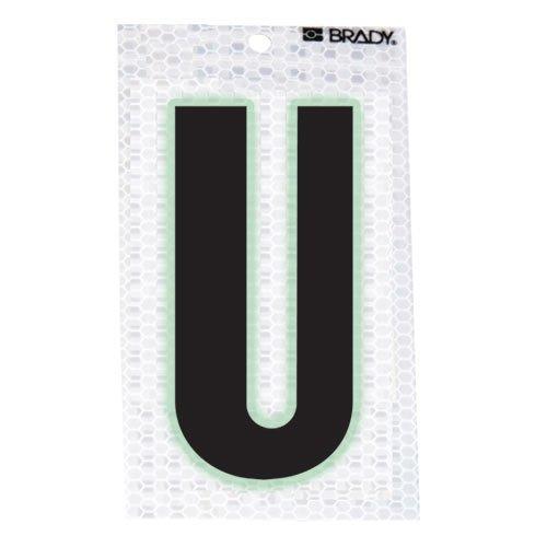 Brady 3020-U, 105602 Glow-In-The-Dark/Ultra Reflective Letter - U, 15 Packs of 10 pcs