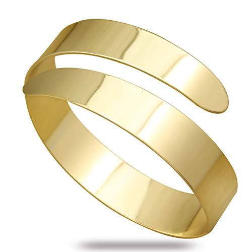 RechicGu Vintage Gold Egypt Cleopatra Swirl Snake Upper Arm Cuff Armlet Armband Bangle Bracelet]()