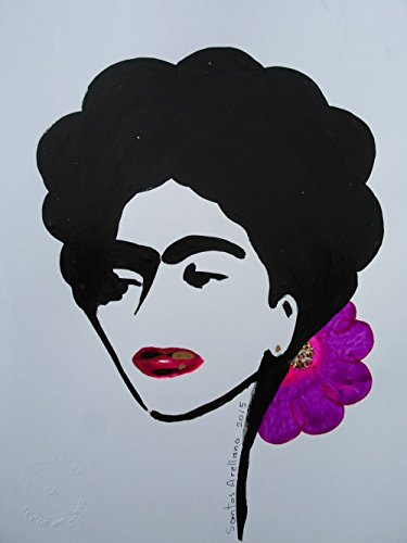 FRIDA KAHLO - RED LIPS- Orange BOW - Abstract - POP - MEXICAN FOLK ART Style :: ORIGINAL PAINTING - Acrylics and Ink - Modern Painting on Heavy White Paper - SIZE:11''x8.5'' - Signed by the Artist by Santos Arellano - Art & Crafts
