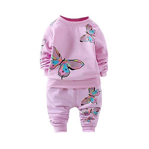 - Waymine Toddler Girls Long Sleeve Butterfly Printed T-Shirt Tops Pants Tracksuit Casual Outfit Purple