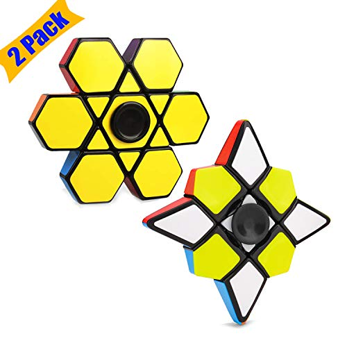 akimoom Fidget Spinner Stress Relief Anxiety Toys Best Autism Fidgets Spinners for Adults Children Finger Toy with Bearing Focus Fidgeting (2 Pack Magic Cube Finger)