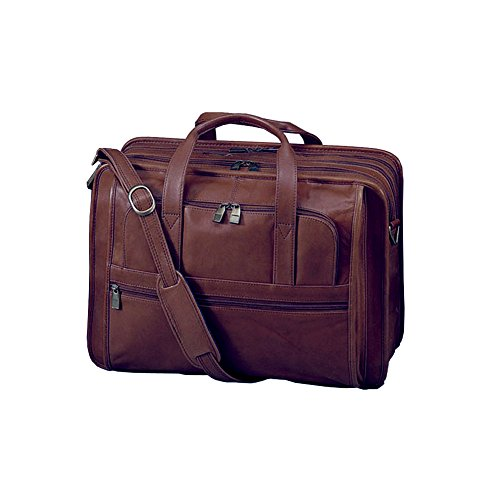 (Winn International Harness Leather Expandable Briefcase Laptop Case in Brown)