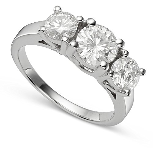 Cut Moissanite Stone - 14K White Gold Round Brilliant Cut 6.5mm Moissanite Three Stone Engagement Ring - size 8, 2.00cttw DEW by Charles & Colvard