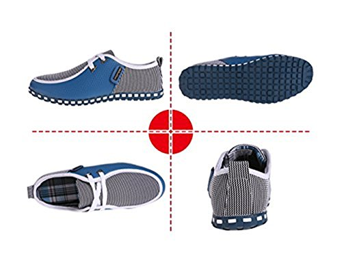 LIEBE721 Casual Lace Mocasines Conducción de Lona Plano bajo Zapatos Cuero Up Corte Azul Hombre Marino F1rFS