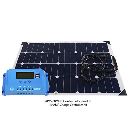 - Aims Power 60W Flexible Bendable Slim Solar Panel & 10 Amp Charge Controller