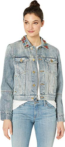 (Juicy Couture Women's Denim Floral Embellished Jacket Retro Wash)