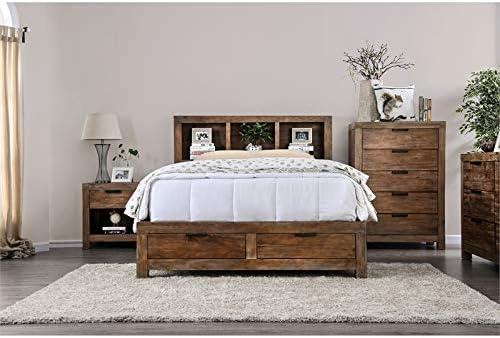 Amazon Com Furniture Of America Russ Rustic Wood King Storage Bed In Oak Furniture Decor