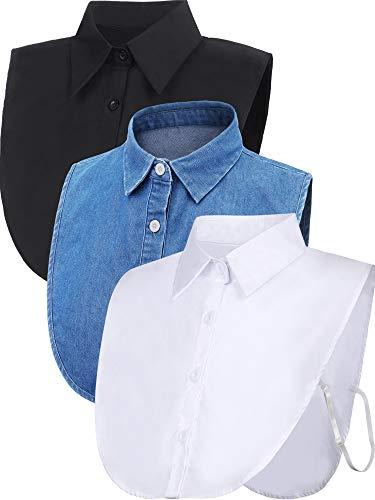 Satinior 3 Pieces Fake Collar Detachable Dickey Collar Blouse Half Shirts Collar (White/Black/Blue) (L Size, White/Black/Blue)