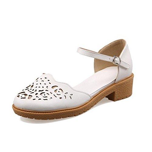 White Heel LongFengMa Women Square Classic Heelded Sandals Shoes Low wvzP4q8