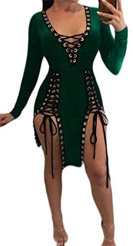 Deep Womens Tang V Dress Eyelet Green Long Bodycon Mini Sleeve Big Neck Up Lace YfHwHq
