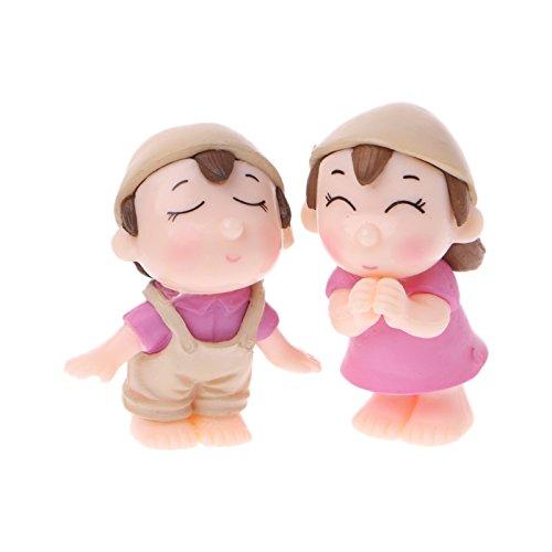 Poity Lover Figures Miniature Bonsai Succulent Garden Smiling Couple Ornaments 1 Pair - Fisherman Chinese Figurine