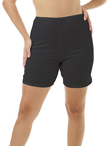 Hip Leg Brief (Underworks® Womens 100% Cotton Cuff Leg Bloomers 8-inch Inseam Black 3-Pack 8 X 55-56 Hips)