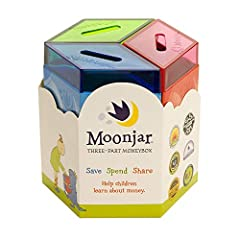 A multiple award winner! This durable tin 3 in 1 moneybox is a timeless gift that will inspire and teach children to save, spend, and share wisely for a lifetime. A great allowance tool too. Moonjar moneyboxes were created as a tool for child...