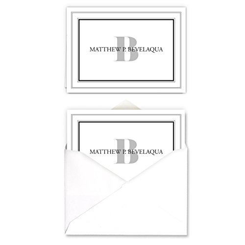 Bordered Monogramed Notecard Foldover Personalized Stationery - Set of 12 cards - 12 plain, white envelopes Photo #4