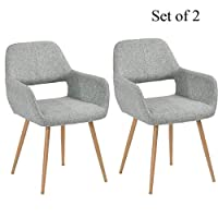 HOMY CASA Dining Chairs Set of 2 with Arm for Living Room, Fabric Mid Century Side Kitchen Chairs with Solid Painting Steel Leg for Kitchen Dining Room Bedroom Leisure Chair, Grey