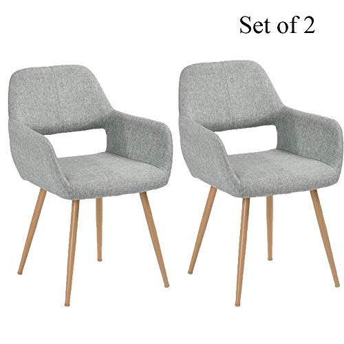 - HOMY CASA Dining Chairs Set of 2 with Arm for Living Room, Fabric Mid Century Side Kitchen Chairs with Solid Painting Steel Leg for Kitchen Dining Room Bedroom Leisure Chair, Grey