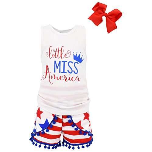 Unique Baby Girls Little Miss America 3 Piece 4th of July Outfit (2T/XS) -