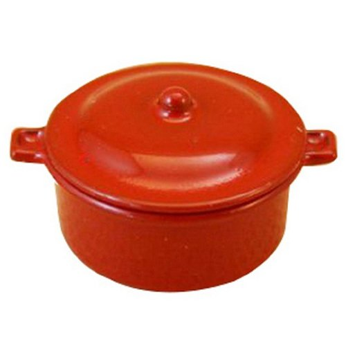 Miniature Casserole (TOOGOO(R) Dollhouse Miniature Kitchen Utensil Cookware Casserole Dish Stew Pan Stockpot 12th Scale, Red)