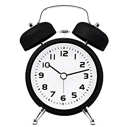 TXL 3.5 Metal Twin Bell Alarm Clock with Aluminum Dial, Backlight, Battery Operated Loud Alarm for Heavy Sleepers/Office, Silent Non Ticking Sweep Bedside Retro Analog Quartz Night Table Clock-Black