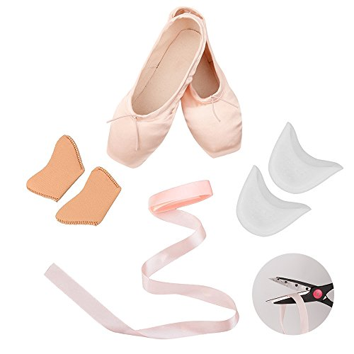 for Gel Silicone Girl's Pads Leather Pointe Toe Shoes and Red Free Rosa with Sole Ribbons Ballet ttxqHSwz