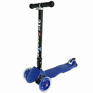 21st scooter Adjustable Sidewalk 3 Wheel Wide Deck T-Bar Kick Scooter Kids Board 5-15 Years (Blue)