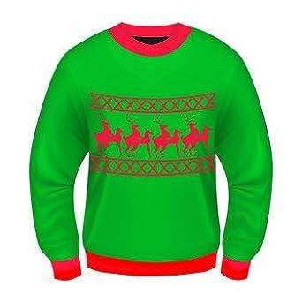 Amazon.com: Ugly Christmas Sweater Funny Reindeer Games Green ...