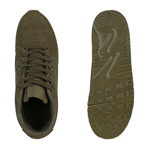 Stiefelparadies Herren Sportschuhe Leder-Optik Sneakers Velours Glitzer Metallic Runners Freizeitschuhe Schnürer Flandell Dunkelgrün