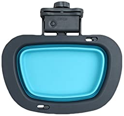 Dexas Popware for Pets Collapsible Rectangular Kennel Bowl, Large, Gray/Blue