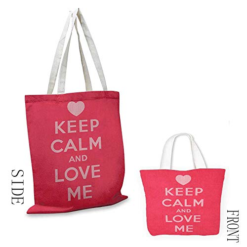Natural canvas tote Keep Calm Love Me Saint Valentines Day Theme Phrase of Love for Romantic Couples Leisure travel bag 16.5