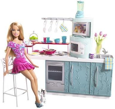 Amazon Com Barbie Kitchen Doll Kitchen Gift Set Toys Games