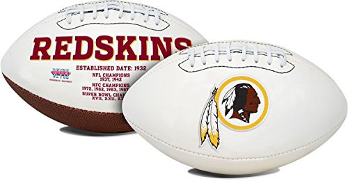 Washington Redskins Embroidered Football - Washington Redskins Embroidered Full Size Signature Series Logo Football with Super Bowl Logos and Scores