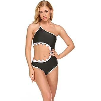 COSYOU Women's One Piece Shark's Mouth Swimsuit Swimwear Bikini Beachwear Tankini (S, Black)