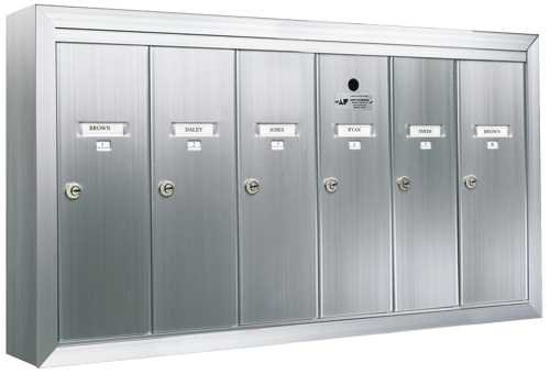 Auth-Florence 12506Smsha Mailbox, Surface Mounted, Vertical 6 Gang