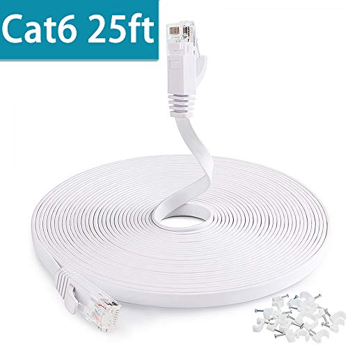 Pro Wire White Switch - Flat Ethernet Cable, Cat6 Network Cable 25 ft, Slim Ethernet Cord with Clips, Short Computer Ethernet Cable for LAN Wire Network Adapter, Switch, Modem, Mac, Laptop MacBook pro/Air, PS4 in White